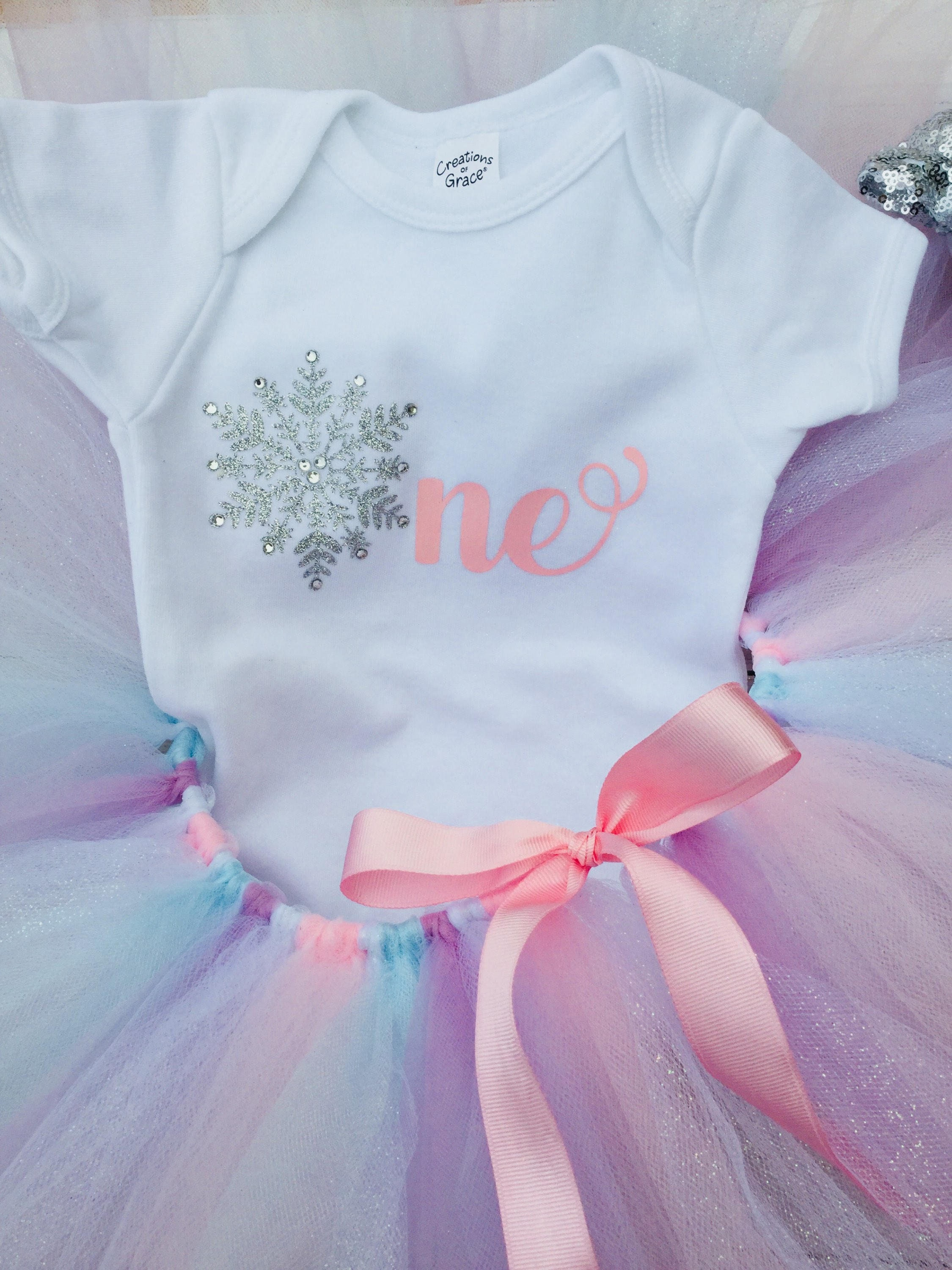 Cake Smash Outfit Tutu Set Winter First Birthday One Year Old Party Bodysuit Baby Girl
