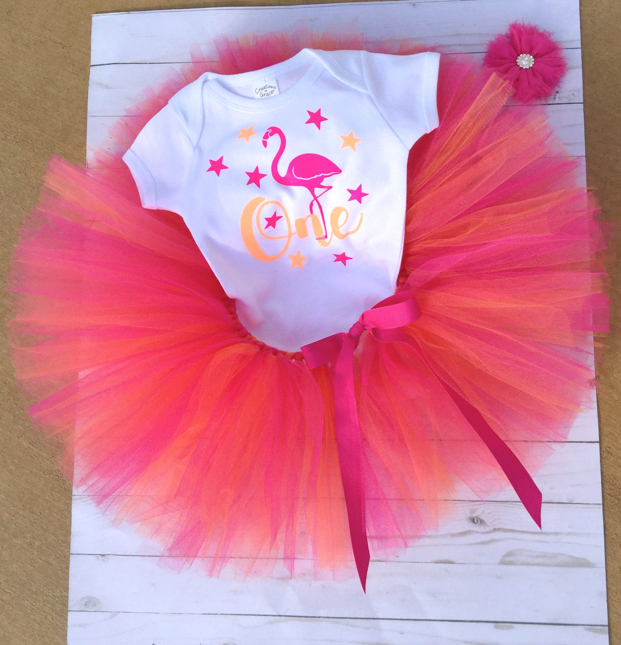 Flamingo Cake Smash Outfit Tutu Set Bodysuit First Birthday One Year Old Party Baby Girl