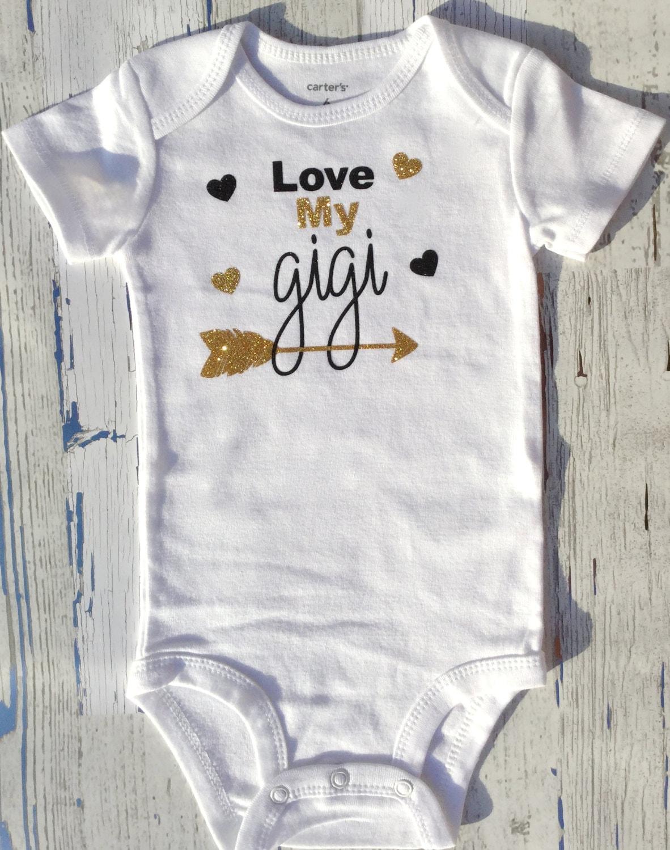 Gold And Black Grandmother Gift Love Gigi Bodysuit Baby