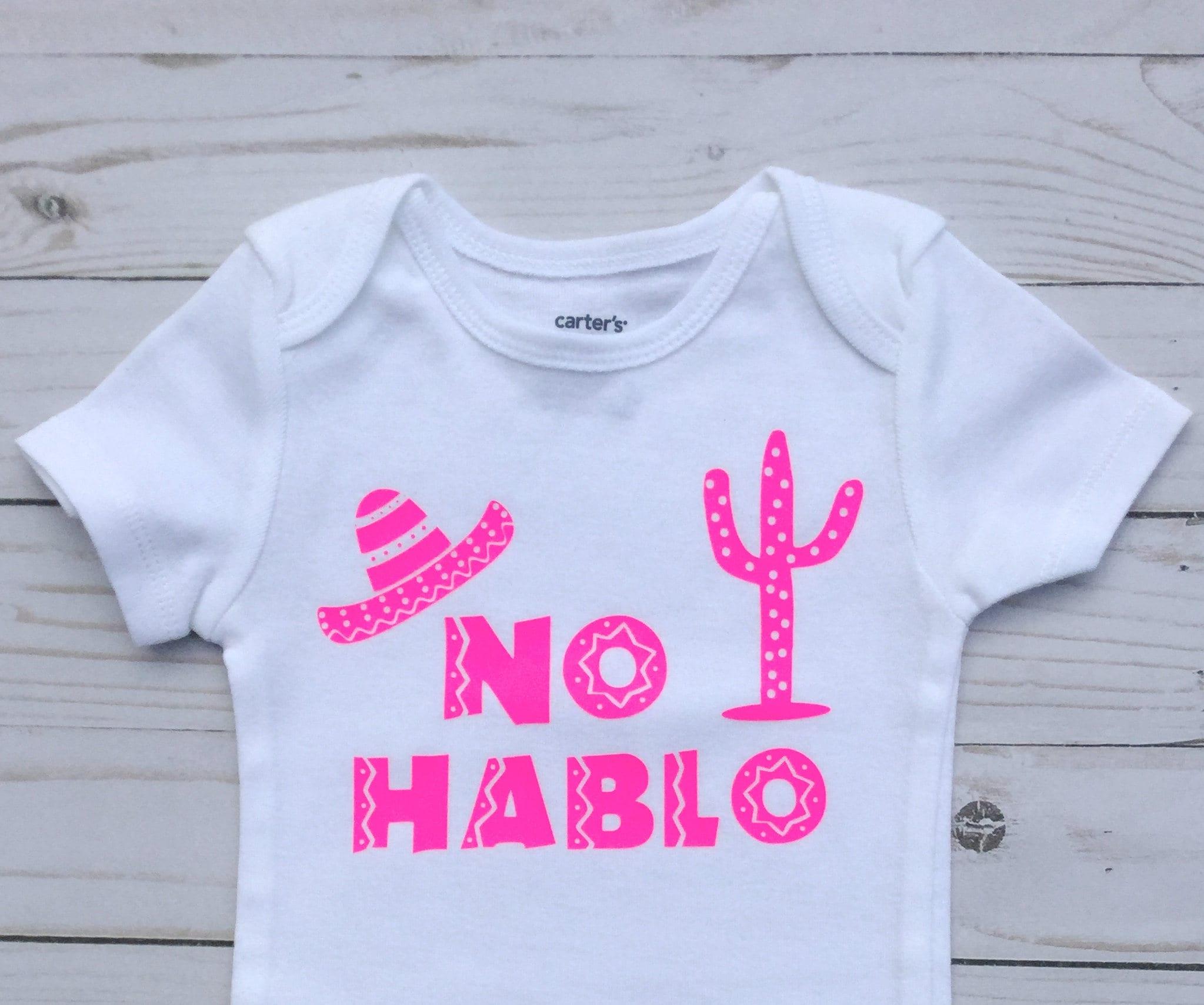 no hablo bodysuit baby shower gift baby girl bodysuit mexican
