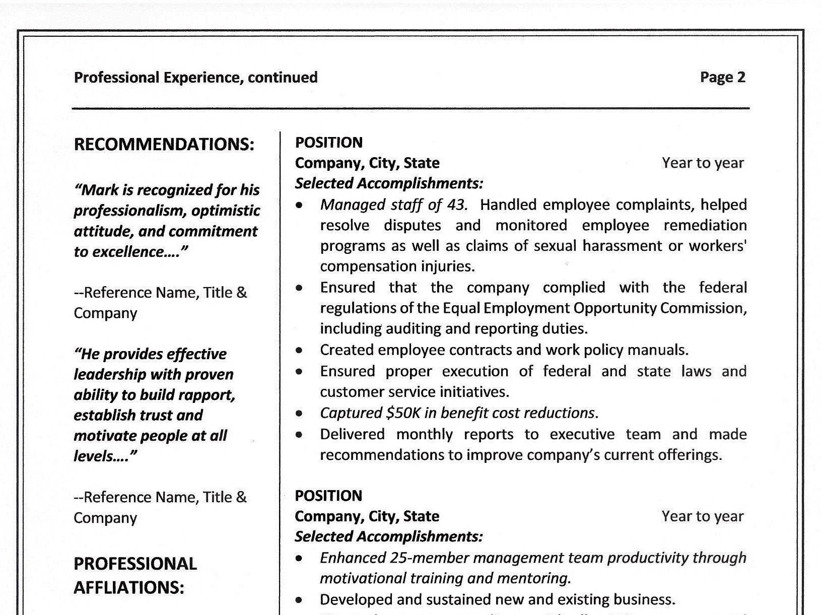 Chronological Resume Template & Sample