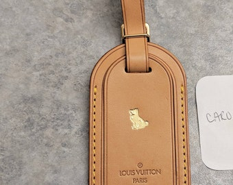 17a61346f84c3 Louis Vuitton name tag gold dog stamp - LV luggage dog Tag - vachetta luggage  tag - LV luggage id name tag - LV travel dog stamp