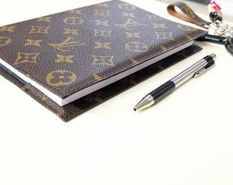Upcycled LV notebook - Louis Vuitton Notebook - repurposed Lv Notebook - LV book cover - Lv scrapbook - LV memo book - Lv journal book