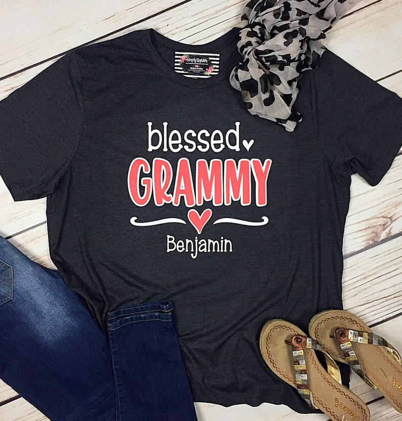 80c5f4ad5 Blessed Mimi Nana Grammy shirt Grandma T Shirt personalized   Etsy