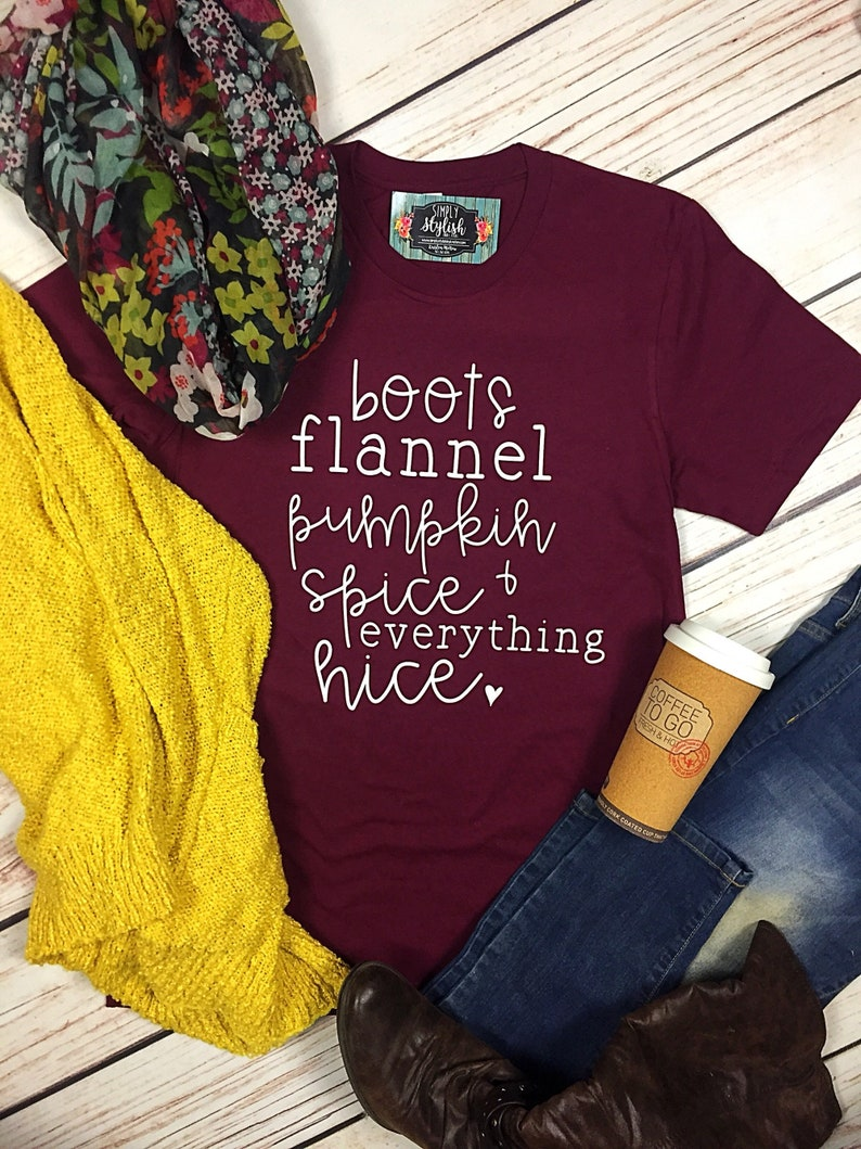 59b4d3cbe Pumpkin Spice Everything Nice Boots Flannel Fall Shirt Hello | Etsy
