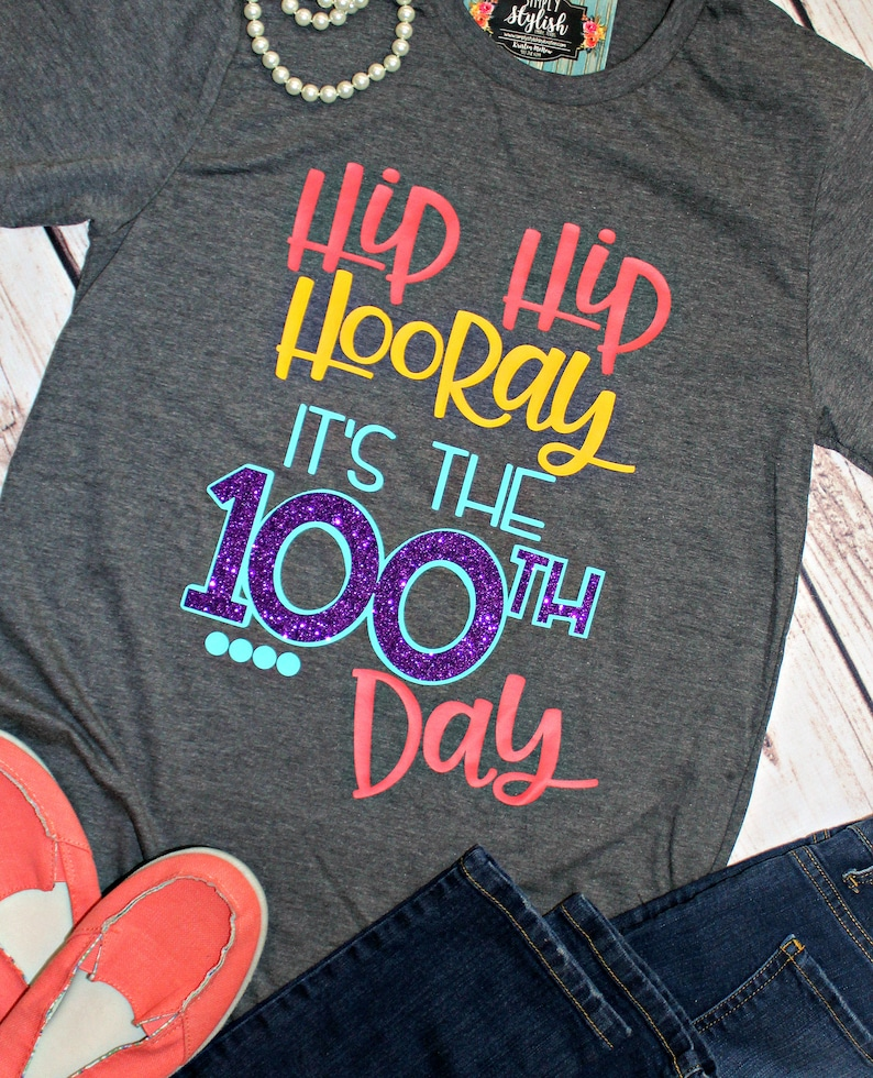 YOUTH Happy 100th Day of School T Shirts 100 Days Smarter Hip Hip Hooray 100 Days 100th Day of School Children Shirt