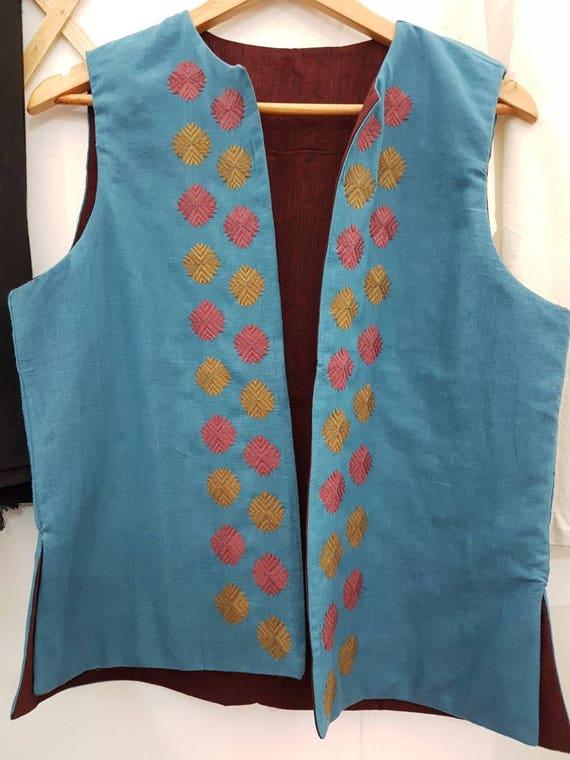 WesteHandloom JackeBoho Damen Indische Jacke Bestickt Blaue Hand Ärmellose Baumwolle Sommer 5Lq3c4AjR