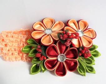 4 Inch Flower Headband / Peach Baby Headband / Child Headbands / Headbands For Girls / Headbands For Babies / Handmade Headband