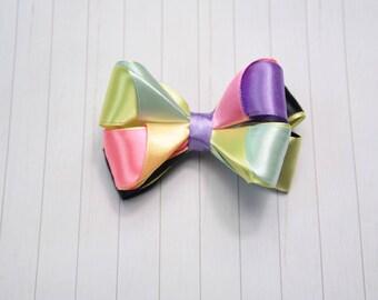 Multi-Color Hair Bow / Girl Ponytail Holder / 3 Inch School Hair Bows / Rainbow Hair Clip / Rainbow Hair Bow / Handmade Hair Bows