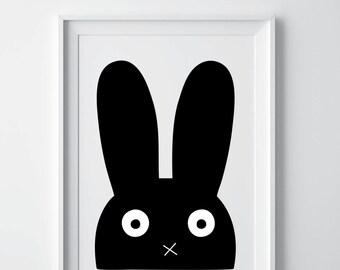 Rabbit print, bunny print, rabbit art, animal print, nursery decor, printable art, nursery art, black and white, nursery print