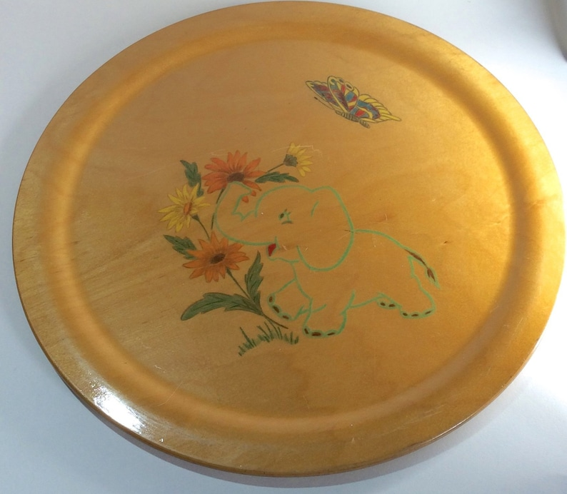 or Display butterfly Vintage Nursery flower design Woodcroft style hand-painted round tray Baby elephant Wooden Serving Tray