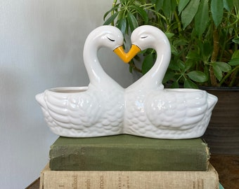 White  Off White Color with Gold Cream Ceramic Double Swan Planter Vase Pair of Swans