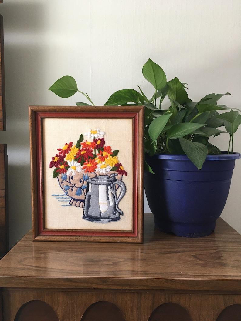 Vintage framed floral crewel