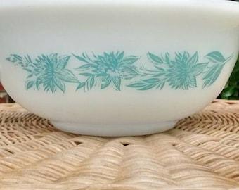 Glasbake mixing bowl blue chrysanthemums 1 quart medium sized mixing bowl milk glass cinderella style mixing bowl blue and white