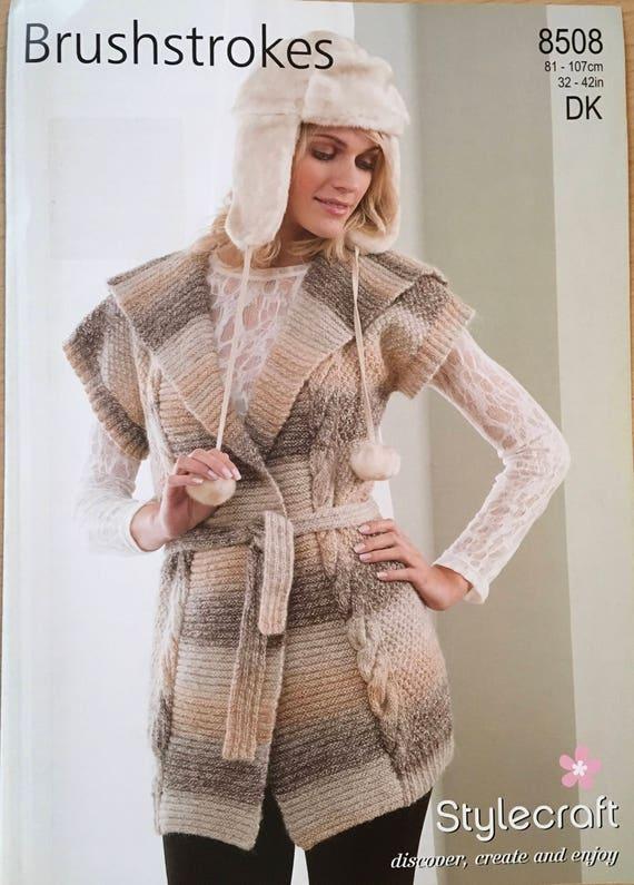 Ladies Belted Waistcoat Knitting Pattern Stylecraft Knitting Etsy