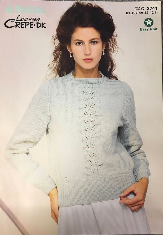 Ladies Lace Jumper Knitting Pattern Patons Knitting Pattern Etsy