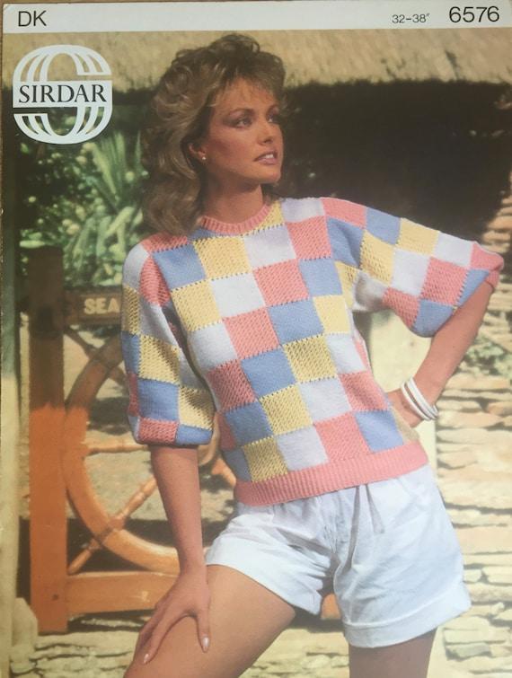 Ladies Square Design Top Knitting Pattern Sirdar Knitting Etsy