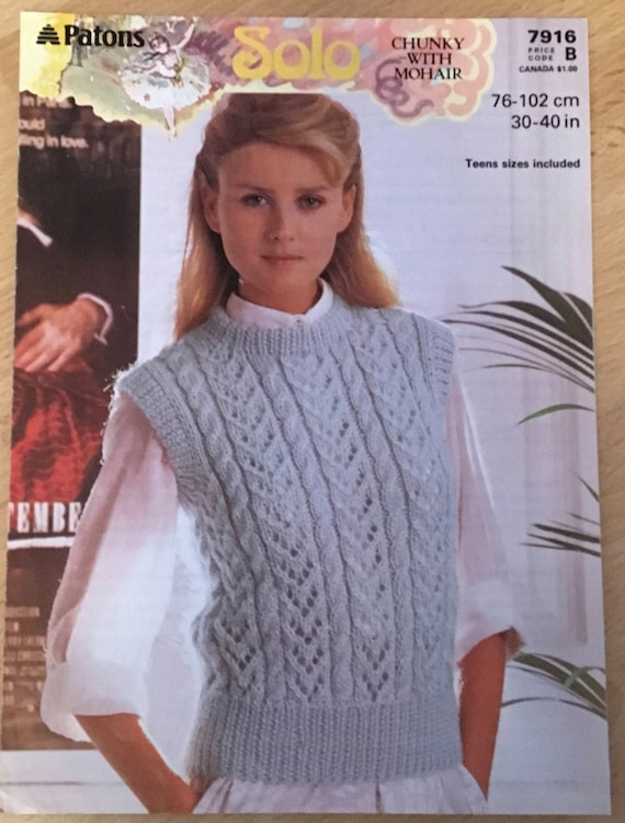 Ladies Cable Jumper Knitting Pattern Patons Knitting Pattern Etsy