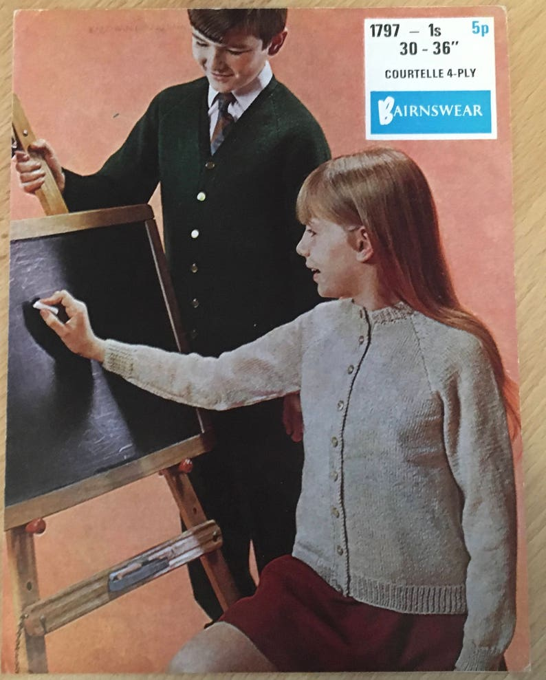 753784ee9217 Childrens School Cardigan Knitting Pattern for Boys and Girls