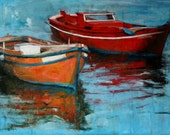 Original boat painting, acrylics on 50 x 70 cm stretched canvas, seascape painting, fine art