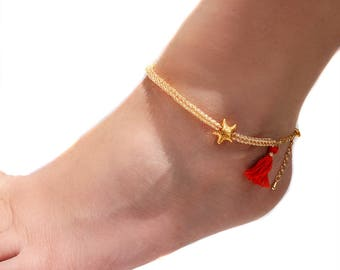 8131926543f08 Turquoise anklet adjustable beach jewelry boho foot
