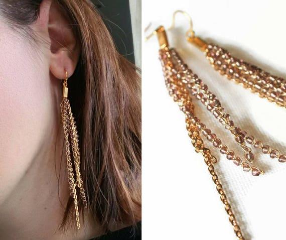 Gold Perlen Ohrringe Draht Häkeln Ohrringe Mit Kette Lange Etsy