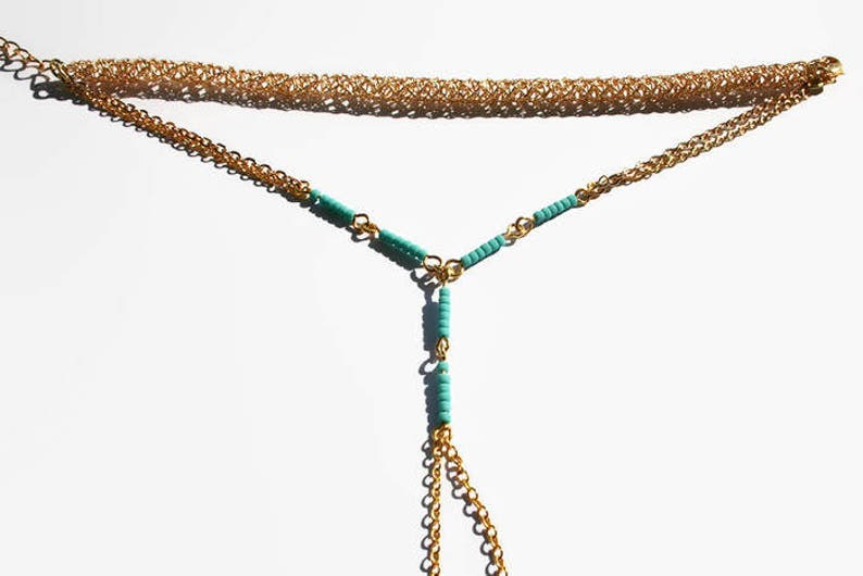 Gold and Turquoise Hand Chain Handlet Bracelet Ring Boho bracelet Wire Crochet  gift Fashion Modern Women Jewelry