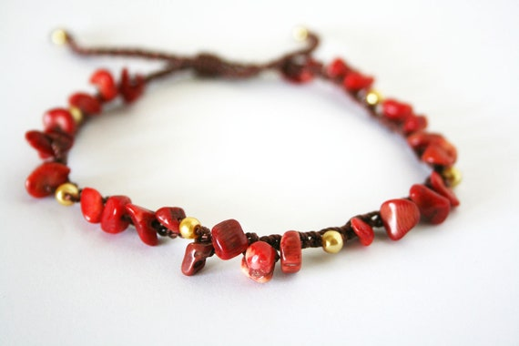 7f145f682783d Boho anklet with coral beads beaded red adjustable beach