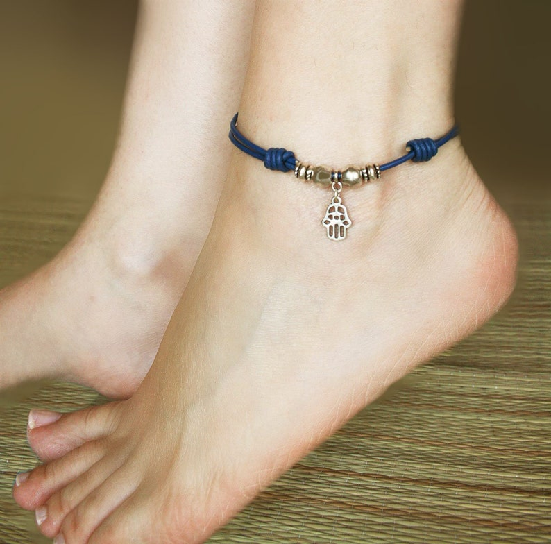 fe63177448d41 Boho anklet leather foot bracelet blue silver hamsa hand