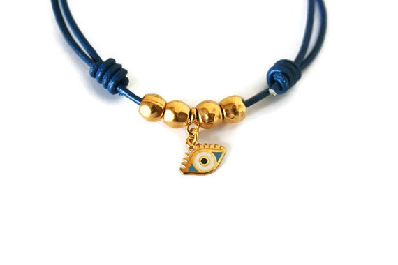 1448bcde32687 Ankle Bracelet Evil Eye Charm Leather Adjustable Foot