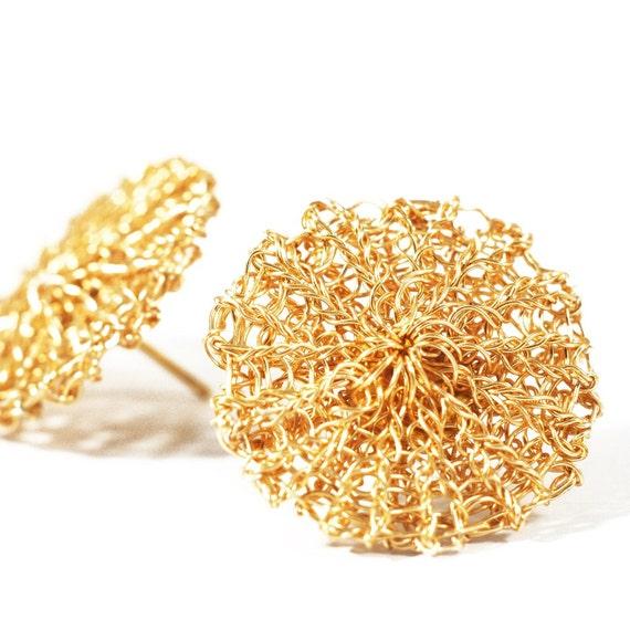 Kreis Ohrstecker, Gold, Draht häkeln Ohrringe, minimalistisch, Schmuck, geometrische, Runde Ohrringe, einfache Ohrringe, moderne Ohrringe