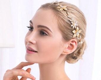 Gold leaf headband, Bridal Tiara, Gold Tiara, Wedding Hair chain, Swarovski Tiara, Leaf crown, Rhinestone Headband, flower crown,Bride Tiara