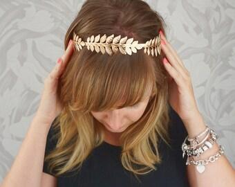 Greek Gold Leaf Headband, Grecian Leaf Headband, Gold Leaf Crown, Gold Leaf Tiara, Wedding Headband, Laurel Crown leaf, Laurel Leaf headband