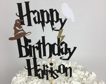 Harry Potter Personalized Happy Birthday Cake Topper ~lightning bolt ~ party ~ birthday ~ Hedwig ~ Sorting hat ~ Harry Potter Birthday