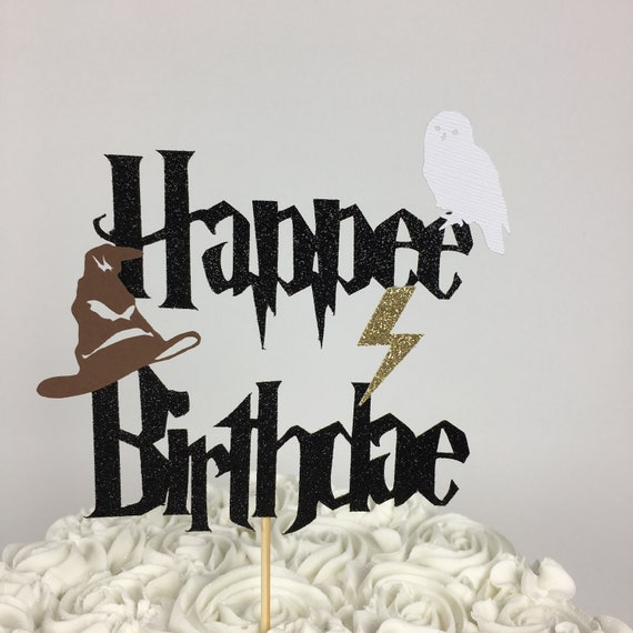 Harry Potter Happee Birthdae Cake Topper Lightning Bolt Party Birthday Hedwig Sorting Hat Glitter