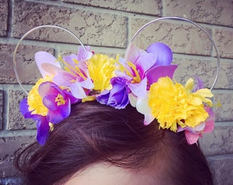 Rapunzel-Inspired Flower Crown Mouse Ears
