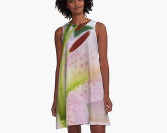 Soft Pink A-Line Dress, Feminine Dress, Women's Flirty Dress, Lily Photo, Wearable Art Clothing, Date Night Dress, Women's XS S M L Xl 2Xl