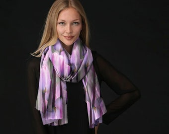 Floral Scarf, Silk Scarf, Cashmere Scarf Pink Scarf Purple Scarf Wearable Art Scarf Gift for Woman Long Scarf Tulip Scarf Striped Scarf VIDA