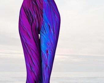 Asymmetrical Purple Leggings ~ Royal Blue Tights ~ Blue Leggings ~ Women's Yoga Pants ~ Workout Leggings ~ Art Leggings ~ Womens Activewear