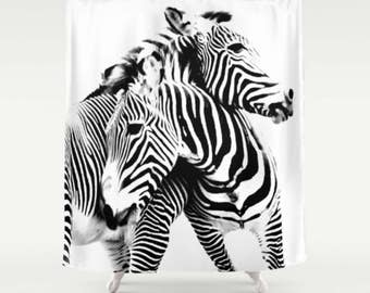 Black And White Shower Curtain Zebra Bathroom Decor Print Bath Set Striped Mat