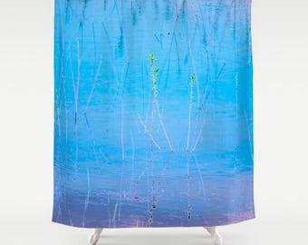 Bright Blue Shower Curtain Abstract Bathroom Decor Digital Art Bath Mat Nature Print