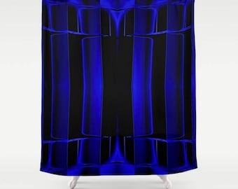 Black Shower Curtain Royal Blue Geometric Art Bath Mat Abstract Lines Masculine Decor