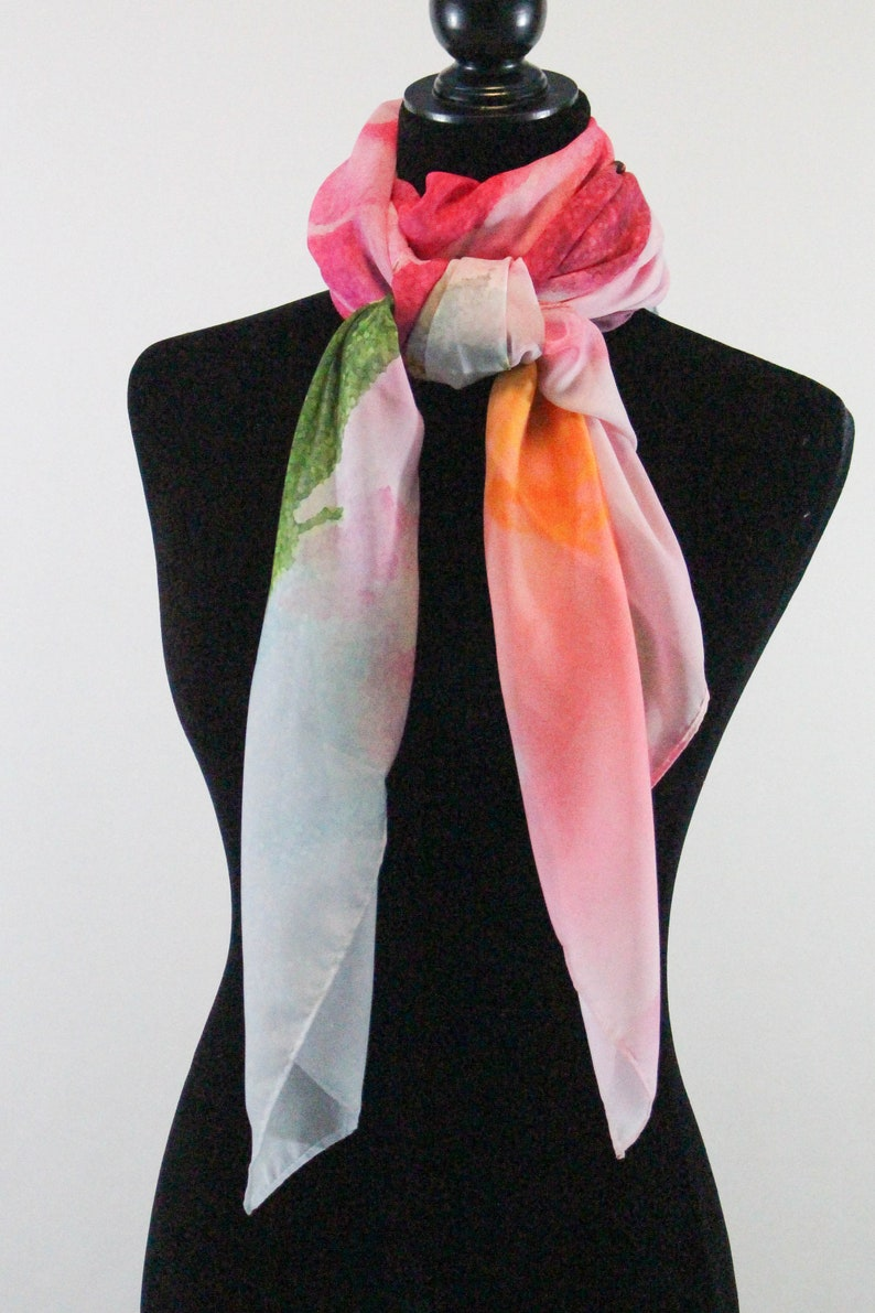 97391f7f19f37 Bright Pink Peony Scarf Mint Floral Print Scarf Gift for | Etsy