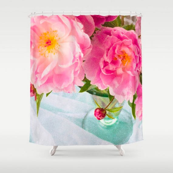 Pink Floral Shower Curtain Peony