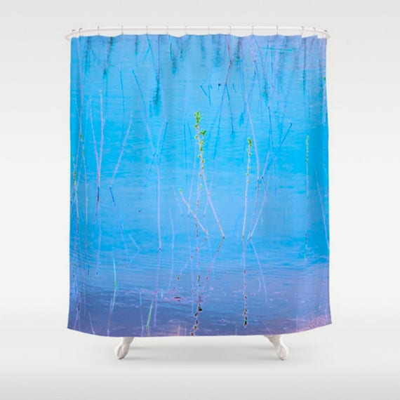 Bright Blue Shower Curtain Abstract