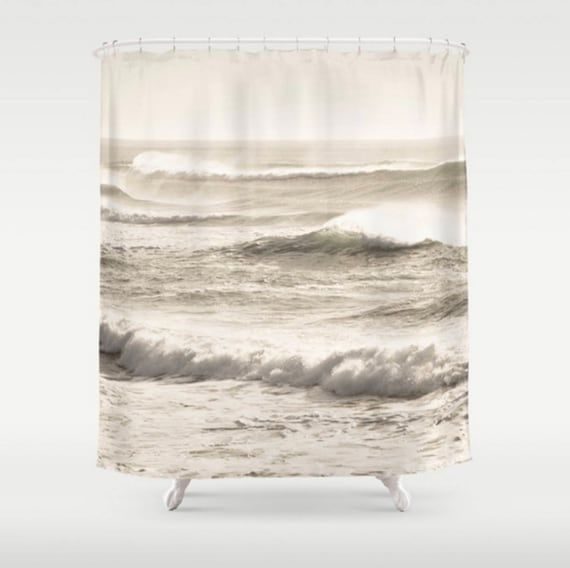 Ocean Waves Shower Curtain Taupe Beach