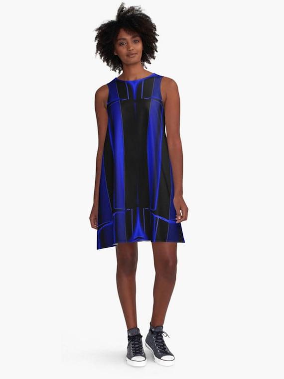 Midnight Blue Dress Sexy Black Dress Royal Blue A Line Etsy