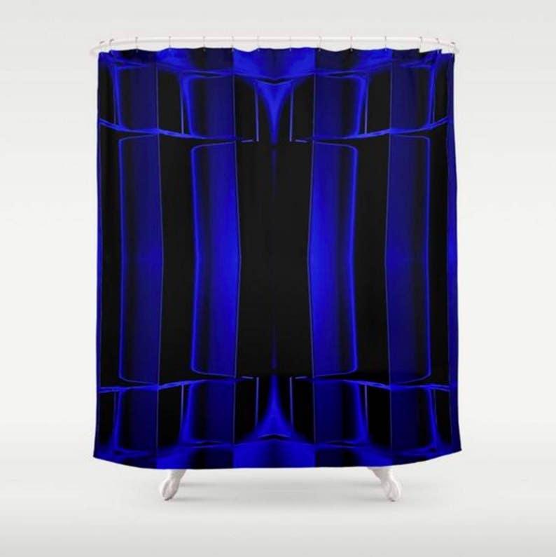 Black Shower Curtain Royal Blue Geometric Art