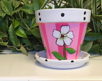 Pink flower pot etsy 6 pink white and black flower pot with saucer mightylinksfo