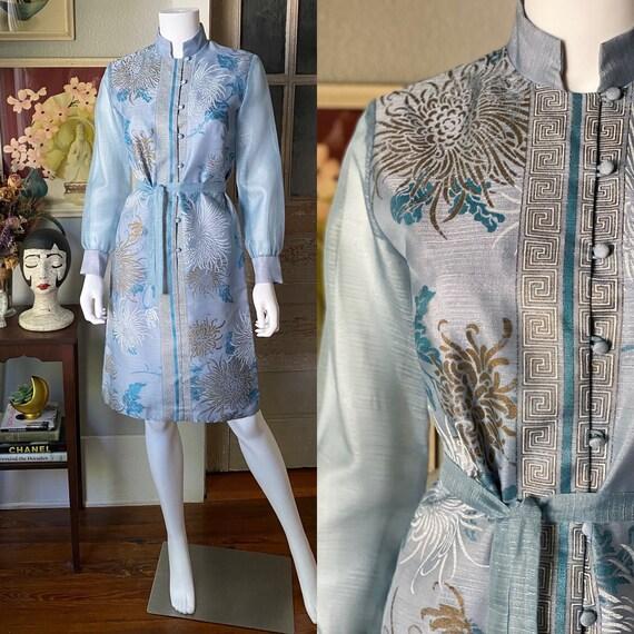 1970's Alfred Shaheen Chrysanthemum print dress